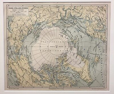 Original old 1885 Colour Antique Map North Pole Karte Nord-Polarländer. Meyer