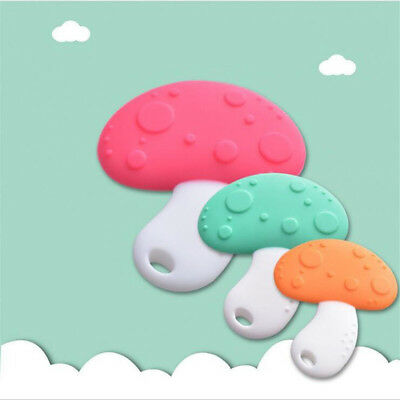 Silicone Bendable Mushroom Teether Ring Baby Soother Chewable Teething Toy 8C