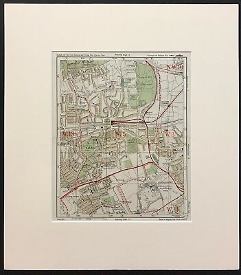 Original Colour Vintage Map Of The Ealing And Gunnersbury Area. Pub 1926 Bacon.