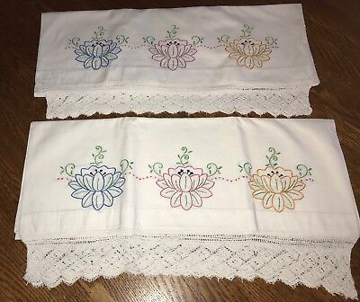 Vintage Hand Embroidered, Crocheted Pillowcases Lily Pads