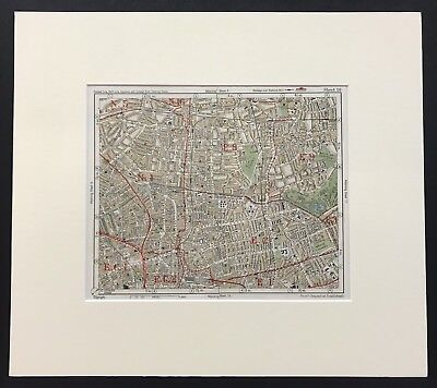 Original 1926 Vintage Colour London Map Of Hackney, Old Street, Dalston