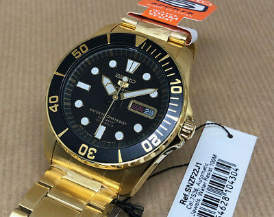 Seiko 5 Sports SNZF22J1 Cal. 7S36. Automatic Made in Japan SNZF22 Gold tone.