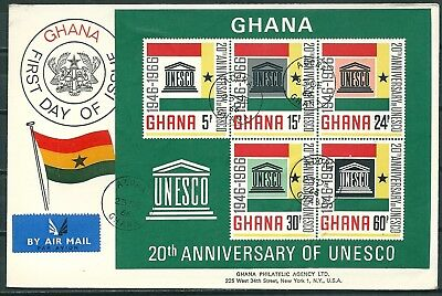 GHANA 1966 REG. FDC 20th ANNIV. OF UNESCO, MIN. SHEET, ACCRA TO USA -CAG 300617