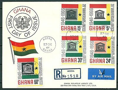 GHANA 1966 REG. FDC 20th ANNIVERSARY OF UNESCO, ACCRA TO USA -CAG 300617