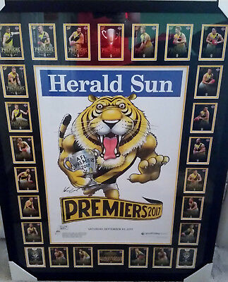 2017 Richmond Tigers Premiership Cards & Mark Knight Herald Sun Poster Framed