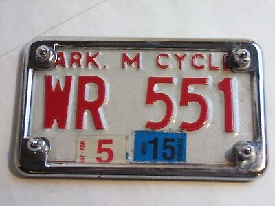 2015 ARKANSAS  MOTORCYCLE CYCLE LICENSE PLATE w/ BRACKET HOLDER  WR 551 GUC