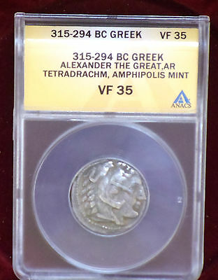 Certified Vf 35 Alexander The Great Silver Tetradrachm Ancient Coin 315-294 Bc