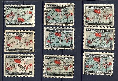 9x 1898 Used Xmas Map stamps. 8x Towns, 1x Flag cancels