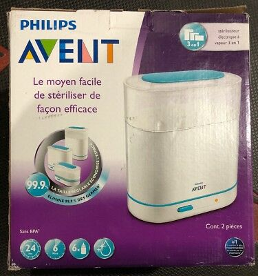 Philips Avent 3-in-1 Electric Steam Baby Toddler Food Bottle Sterilizer BPA-Free