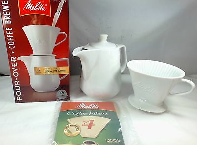 Melitta 640476, 6 Cup Pour-Over Coffee Brewer, Porcelain Brewing Cone and Carafe