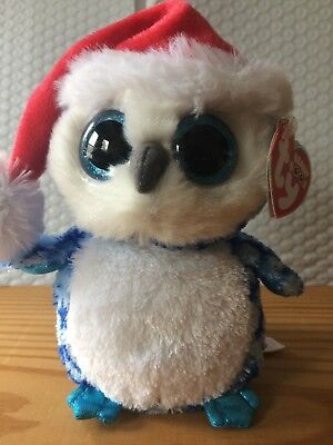 "Ty Beanie Boo Boos ICICLES Holiday Owl 6"" (Sparkle Eyes) RED Tag MWMT"