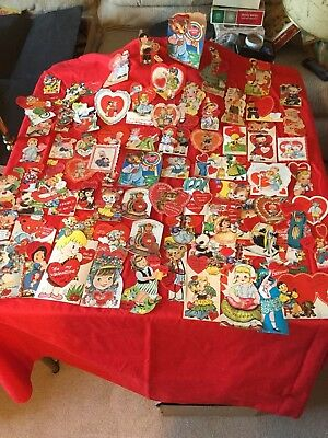 Vintage Valentine Childrens Greeting Cards - Lot Of 80 - 1940's - 50's