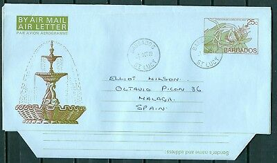 BARBADOS OLD AIR LETTER AEROGRAMME 25c POSTED TO SPAIN -CAG 040717