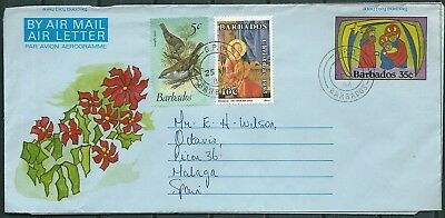 Barbados 1984 Air Letter Aerogramme Posted To Spain, Extra Stamps -Cag 040717