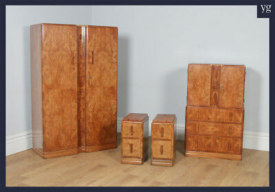 Antique Art Deco Burr Walnut 3-Piece Bedroom Suite Wardrobe Tallboy & Bedsides
