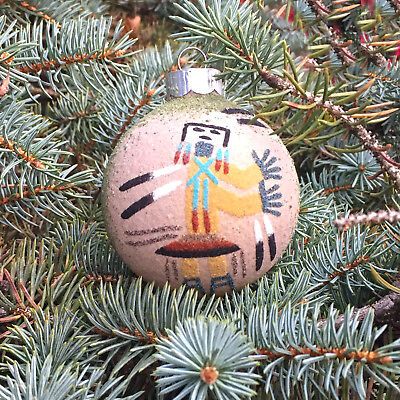 Native American Indian-Authentic Navajo Sand Painting Ornament- Yei & Kokopelli