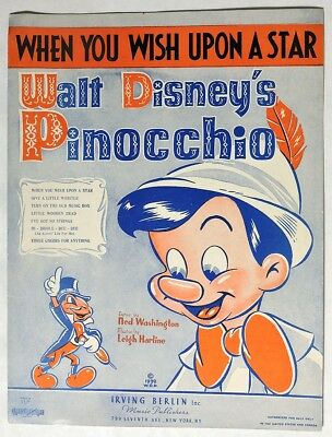 "S544. Walt Disney's PINOCCHIO ""When You Wish Upon A Star"" Sheet Music (1939)"