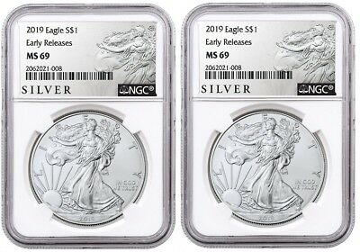 2019 1oz Silver Eagle NGC MS69 - ER - ALS Label - White Core - 2 Pack