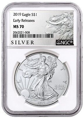 2019 1oz Silver American Eagle NGC MS70 - ER - ALS Label - White Core