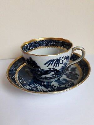 19th C. Davenport Stone China Tea Cup & Saucer, Broseley/Two Temples , 1805-20.