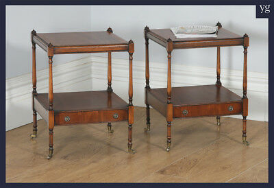 Pair English Georgian Regency Style Mahogany Whatnot Bedside Tables Nightstands