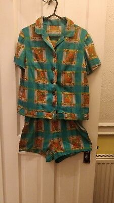 Vintage 1950s Suit Playsuit Shirt And Shorts