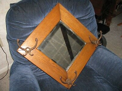 ANTIQUE OAK HALL TREE with BEVELED MIRROR / HALL RACK
