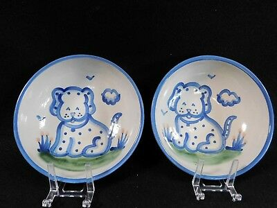 "M. A. Hadley Pottery Puppy Dog Soup Bowls 6 3/4"" QTY2 SIGNED HAND PAINTED"