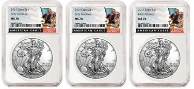 2019 1oz Silver Eagle NGC MS70 - ER - Black Label - White Core - 3 Pack
