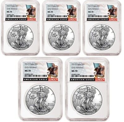 2019 1oz Silver Eagle NGC MS70 - ER - Black Label - White Core - 5 Pack