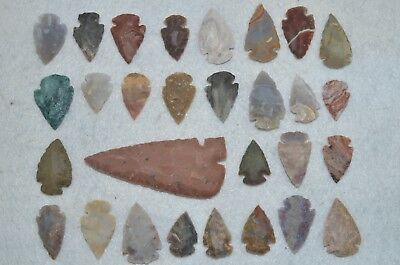 "29 PC Flint Arrowhead Ohio Collection Points 1-3"" Spear Bow Stone Hunting Blade"