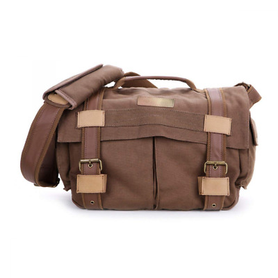 DSLR SLR Camera Bag, Canvas Vintage Messenger Shoulder with Shockproof Insert US