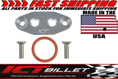 "LS TWIN TURBO DUAL 1/8"" NPT OIL FEED LINE ADAPTER PLATE LS1 LSX kit Port LS3"