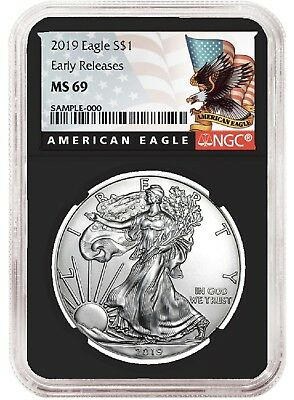 2019 1oz Silver American Eagle NGC MS69 - ER - Black Label - Black Core