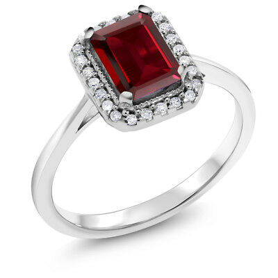 1.97 Ct Emerald Cut Red Garnet White Diamond 10K White Gold Ring