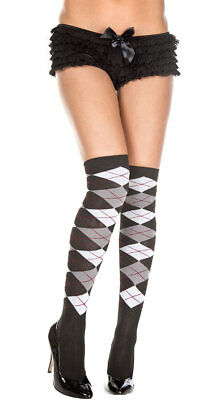 One Size Fits Most Womens Sheer Argyle Thigh High Socks, Black And White Argyle