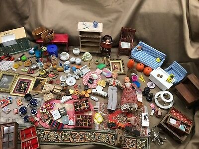 Doll House Accessories Huge Lot Kitchen, Dinning, Bedroom Decor More!