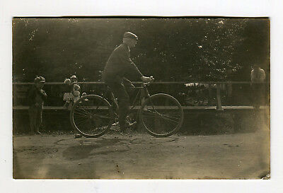 Antique Postcard Man on Bicycle Photo RPPC 1907-1915 Kids Watching in Background
