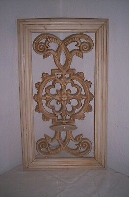 vintage wall candle sconce french country style cast iron / wood frame 99p no re