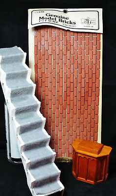 Vintage Doll House Furniture Accessories-Carpeted Staircase-Wooden Pulpit-Bricks