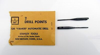 "Lot of TWO ~ Vintage Stanley Yankee 1/16"" Push Drill Bit Points ~ Made in USA"