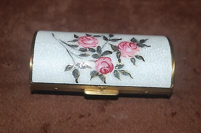 Vintage Antique Guilloche Enamel & Brass Compact! Roses Hand Painted!