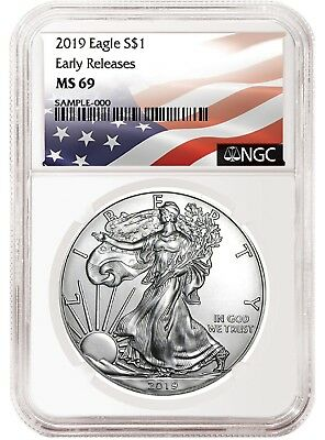 2019 1oz Silver American Eagle NGC MS69 - ER - Flag Label - White Core In Stock