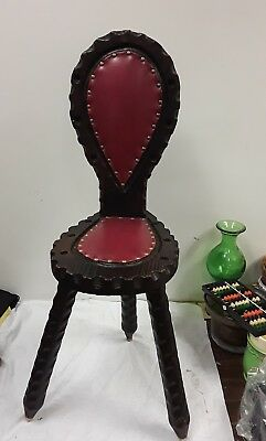 Unique Carved Wood 3 Legged Chair Stool