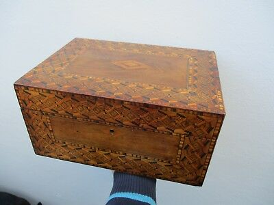 A Very Large Victorian Tunbridge Ware Inlaid Walnut Sewing Box c1860