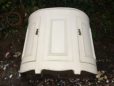 "Antique Demi Lune, Half Moon Cabinet. 39""w Painted Wood. Shabby Chic"