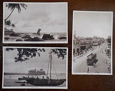Ceylon Postcards x 3, Sepia Type all Unposted, from the 1940s, By Raphael Tuck &