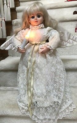 """Vintage Telco Motionette Animated Christmas Angel With Light Up Candle 26"""""""