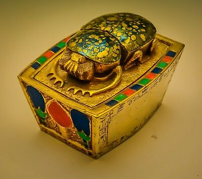 "Very Rare Egyptian Lidded Scarab Box, by ""Artisans Guild International"""