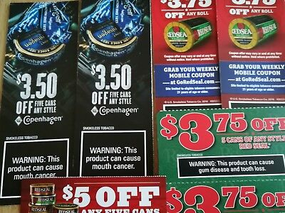 Red Seal,Copenhagen tobacco Coupon Lot $ 27.00 in Savings!